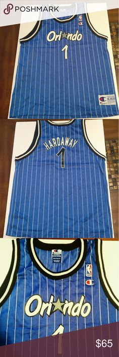 Champion Kids Penny Hardaway Orland Magic Jersey Champion Kid Penny Hardaway Orlando Magic Jersey    It fits a kids XL or a Adult Small  Gently Pre-owned - No Holes, Rips, Or Stains.   Blue Colored Orlando Magic Jersey.   Amazing condition!  Size XL  Nba Champion Jersey Vintage  Feel free to ask a question! Or make an offer! Price Negotiable! Champion Shirts & Tops