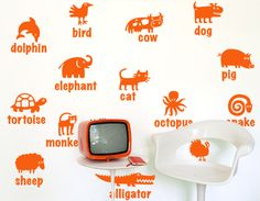 wall sticker KIDS & NURSERY Learn Animals  big
