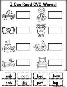 I Can Read CVC Words Packet. First grade CVC word work. First grade reading activities. Fluency Activities, Montessori Activities, Reading Activities, Kindergarten Learning, Learning Centers, Maria Montessori, First Grade Reading Comprehension, First Grade Words, Phonics Worksheets