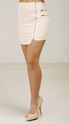 Zipper Detail Mini Skirt - Cream
