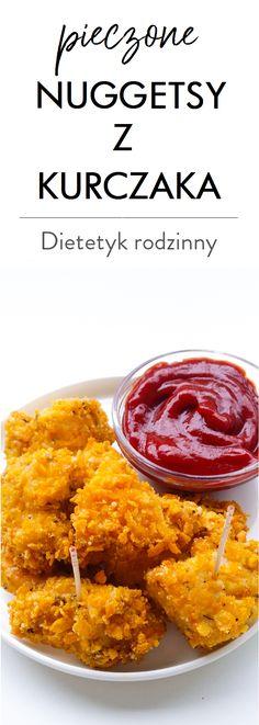 pieczone nuggetsy z kurczaka Polish Recipes, Curry, Dinner Recipes, Food And Drink, Lunch, Healthy Recipes, Ethnic Recipes, Kitchen, Kfc