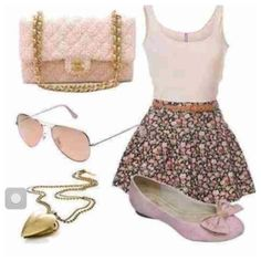The dark floral skirt with the baby pink tank top looks great paired with pink accessories!