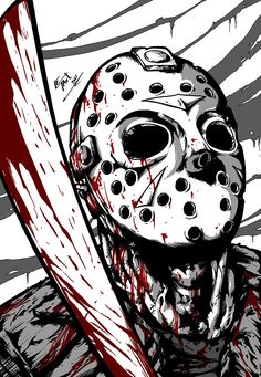 """Today is Friday the """"Did you know a young boy drowned the year before those two others were killed? The counselors weren't paying any attention. Horror Cartoon, Horror Icons, Dessin Old School, Horror Drawing, Flipper, Horror Artwork, Horror Movie Characters, Scary Art, Classic Horror Movies"""
