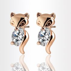 High Quality Fashion Crystal Little Fox Stud Earrings