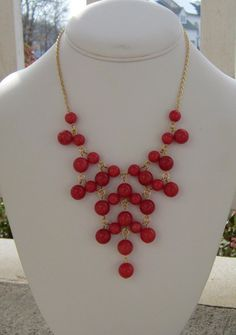 Bib Necklace Pink Statement Necklace in by DeniseJewelryDesigns, $39.00