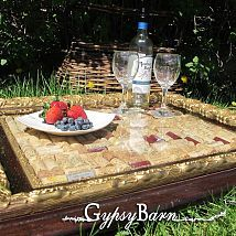 Old frame, corks, glass& drawer pulls = stunning wine and cheese tray