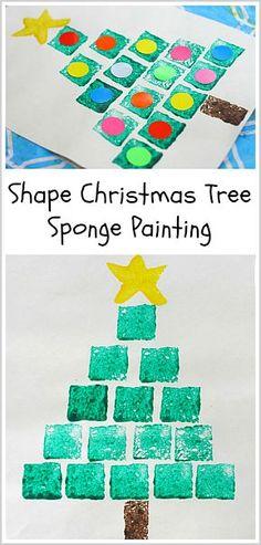Pintar árbol de navidad con esponjas