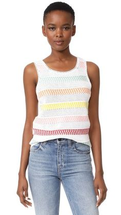 alice   olivia Trinity Textured Stripe Shell