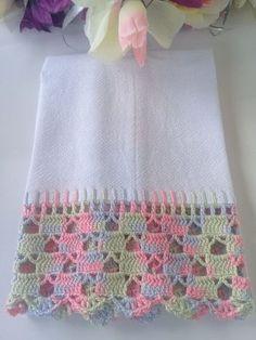 Crochet Border Patterns, Crochet Boarders, Baby Knitting Patterns, Crochet Designs, Crochet Towel, Crochet Hooks, Thread Crochet, Filet Crochet, Crochet Decoration