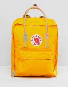 Fjallraven Kanken in Warm Yellow with Blocked Contrast Top Handle and  Straps Yellow Kanken 83e77aae32513