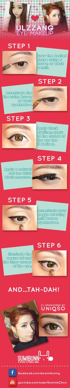 Ulzzang Eye Makeup Tutorial by sumibunny, more in http://sumibunny.kittendollsofficial.com/2014/02/11/ulzzang-eye-makeup/  ===== #Ulzzang #MakeupTutorial