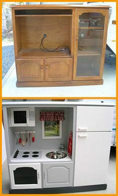 Make a kids kitchen out of analogue  TV cabinet