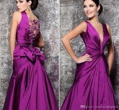 Sexy Plugging V Neck Taffeta Formal Evening Dresses Purple Vintage 2015 Lace Sparkly Beads Backless Mermaid Elegant Bow Long Celebrity Gowns Shop Dress Shop For Dresses From Wanyuweddingdress, $117.59| Dhgate.Com