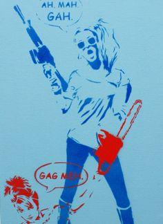 VALLEY GIRL GANG Wars 2 Original Painting 9x20 on Canvas Graffiti Street Art Pop Art Stencil Spray Paint Acrylic Paint Original Artwork 80s