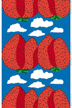 Strawberries in the sky. Gorgeous! Mansikkavuoret cotton fabric by Marimekko