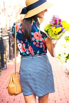 j crew outfit. love the patterns and cute hat! perfect outfit for summer! Fashion Moda, Womens Fashion, Style Fashion, Fashion Ideas, Vetements Clothing, Stripe Skirt, Mode Outfits, Skirt Outfits, Mixing Prints