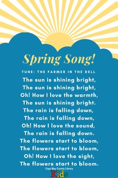 We love this spring song for storytime! Perfect for spring, weather, or garden themes. Try it with scarves or shaker eggs for added fun. Music For Toddlers, Toddler Music, Spring Theme, Winter Theme, Preschool At Home, Toddler Preschool, Kids Songs With Actions, Action Songs, Spring Song
