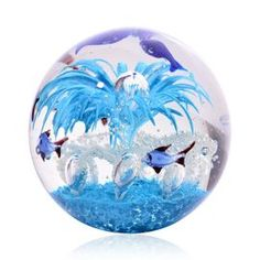 Mouth Blown Glow in the Dark Blue Glass Sea View Blue Jellyfish Paperweight (Size 11x10 Cm)