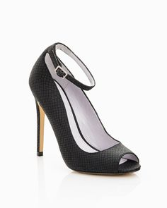 Black patent leather heel