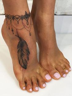 Black Henna Lace Feather Wrap Around Illusion Anklet Ankle Foot Tattoo Ideas for Women at MyBodiArt.com #tattooswomensdesigns #TattooIdeasForWomen #women'sanklets