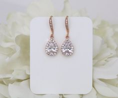 Crystal Bridal earrings Rose Gold earrings by TheExquisiteBride