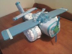 Airplane Diaper Cake by ColbysDiaperFun on Etsy, $30.00