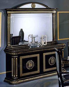 Rossella Italian Classic Black 4-Door Buffet