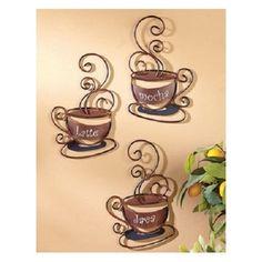 Wall Art Coffee Mug Art Metal Decor Cafe House Kitchen Bistro Latte Java NEW