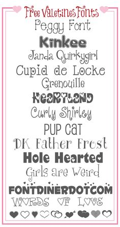 Favorite FREE Valentines Day Fonts Fonts Hana And Romantic