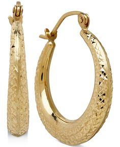 Decorative Design Hoop Earrings in 10k Gold