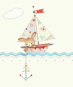 Very sweet illustration by Lynn Horrabin - Illustration Mignonne, Boat Illustration, Creation Art, Jolie Photo, Baby Decor, Baby Cards, Watercolor Print, Nursery Art, Cute Drawings