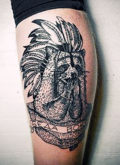 This is dumb. But also awesome. : Raccoon : Indian head-dress tattoo