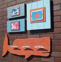 Orange Whale Coat Rack with Boat Cleats by ProjectCottage on Etsy Nautical Art, Nautical Nursery, Shark Bedroom, Pool House Bathroom, Surf, Boat Cleats, Beach Wood, Bath Girls, Baby Boy Nurseries