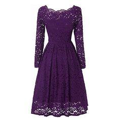 Amazon.com: Missmay Women's Vintage Floral Lace Long Sleeve Boat Neck Cocktail Formal Swing Dress Black Large: Clothing