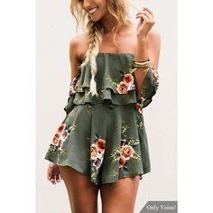 Yoins Green Off-The-Shoulder & Layered Details Random Floral Print... ($25) ❤ liked on Polyvore featuring jumpsuits, rompers, black, playsuit romper, flower print romper, long-sleeve romper, long-sleeve rompers and floral rompers
