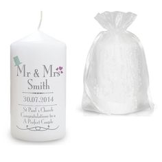 Mr And Mrs Personalised Wedding Candle