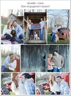 Cute country engagement pics, some with puppy dogs! :)