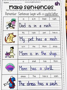 Unscramble the words to form a logical sentence focusing on digraph /sh/. This worksheet is a part of my 'Digraph sh Pack A free and comprehensive pack to introduce the /sh/ sound. English Phonics, Teaching English Grammar, English Sentences, Word Sentences, Teaching Spanish, Sh Sound, Sound Words, Kindergarten Writing, Kindergarten Worksheets