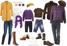 What to Wear – your Autumn Portrait Session @ Jessie Rose Photography  Purple, brown and mustard yellow palette for this family portrait plan