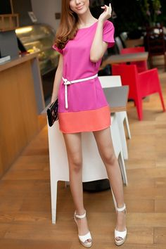 Color Block Short Sleeve Long Length Blouse