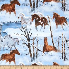 Wild Wings Approaching Storm Scenic Horses Blue from @fabricdotcom  Designed by Chris Cummings for Springs Creative, this fabric is perfect for quilting, apparel and home décor accents. Colors include brown, blue, white, sienna and grey.