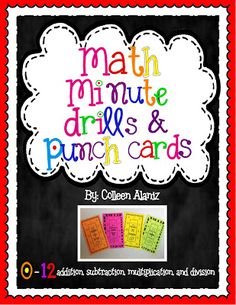 Math Fact Practice and Punch Cards (love the idea - make it my own for summer)