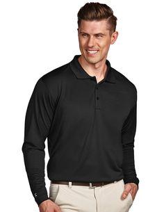 Antigua Mens Black Long Sleeve S P F 50 Polo #100297