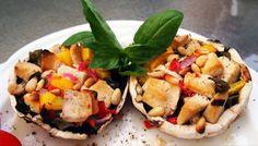 Lemon, Basil and Tofu Feta Stuffed Mushrooms #MeatlessMonday