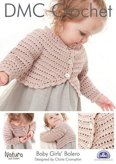 Filet crochet Bolero for baby/toddler girl. It is worked in treble (US: double crochet) filet pattern and has a shaped round yoke.