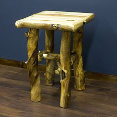 Aspen Log End Table - JHE's Log Furniture Place- Made in USA.- Cabin decor