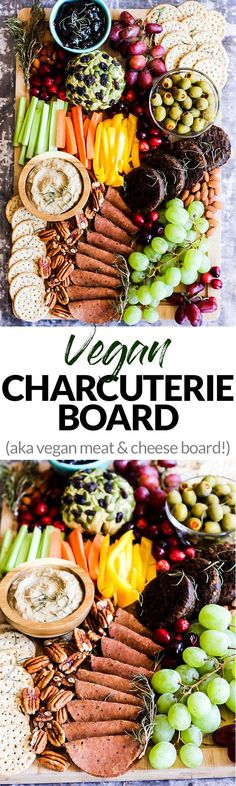 For my vegan friends.Serve this epic Vegan Charcuterie Board at your next party as a fun appetizer! Loaded with veggie meats, dairy-free cheese, fruit and vegetables. Vegan Foods, Vegan Snacks, Vegan Dishes, Vegan Vegetarian, Vegetarian Recipes, Vegan Meals, Paleo, Healthy Recipes, Vegan Appetizers