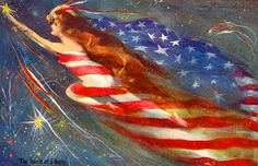 """""""The Spirit of Liberty"""" ~ Vintage 4th of July postcard, ca. 1900s"""