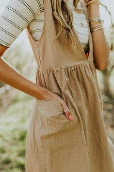 Oversized Taupe Jumper Dress with Overall Straps | ROOLEE