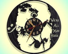Wall Clock, Alice in Wonderland, Wooden clock 12inch(30cm), Wall Art Decor, Wood Clock, Modern, Rabbit Hole, Home decor, Gift Idea